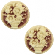 Cabochon Basic Camee 20mm Blumenstrauss Brown-antique gold
