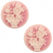 Cabochon Basic Camee 20mm Blumenstrauss Vintage pink-off white