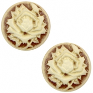 Cabochon Basic Camee 20mm Rose Brown-antique gold