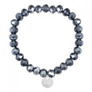 Facett Glas Armbänder Sisa 8x6mm (Anhänger RVS) Dark blue-pearl shine coating