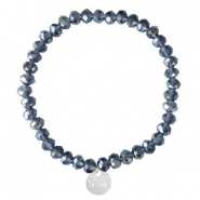 Facett Glas Armbänder Sisa 6x4mm (Anhänger RVS) Dark blue-pearl shine coating