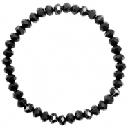 Top Facett Glas Armbänder 6x4mm Jet black-pearl shine coating