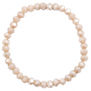 Top Facett Glas Armbänder 6x4mm Champagne greige opal-pearl shine coating