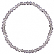 Top Facett Glas Armbänder 4x3mm Grey crystal- pearl shine coating
