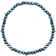 Top Facett Glas Armbänder 4x3mm Dark blue-pearl shine coating