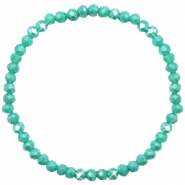 Top Facett Glas Armbänder 4x3mm Turquoise green-pearl shine coating