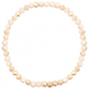 Top Facett Glas Armbänder 4x3mm Nude beige-half pearl shine coating