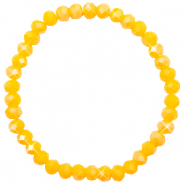 Top Facett Glas Armbänder 6x4mm Freesia yellow opal-pearl shine coating