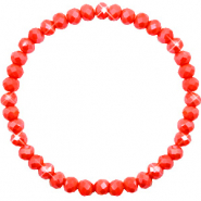 Top Facett Glas Armbänder 6x4mm Coral red-pearl shine coating