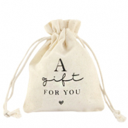 "Schmuckbeutel Leinen ""a gift for you"" Off white"