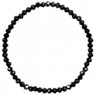 Facett Glas Armbänder 4x3mm Jet black-pearl shine coating