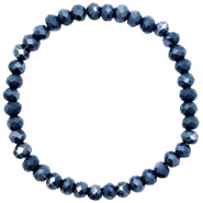 Facett Glas Armbänder 6x4mm Dark blue-pearl shine coating