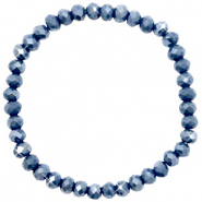 Facett Glas Armbänder 6x4mm Blue stone-pearl shine coating