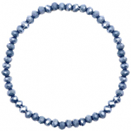 Facett Glas Armbänder 4x3mm Blue stone-pearl shine coating