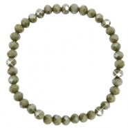 Facett Glas Armbänder 6x4mm Olive green-pearl shine coating
