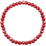Facett Glas Armbänder 6x4mm Chillipeper red-pearl shine coating