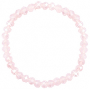 Facett Glas Armbänder 6x4mm Peach pink opal-pearl shine coating