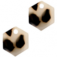 Resin Anhänger Hexagon Cream black