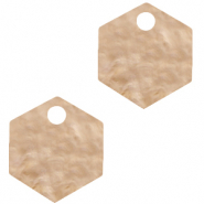 Resin Anhänger Hexagon Light semolina beige