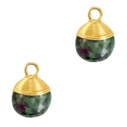 Naturstein Anhänger wire wrapped Dark green marble-gold