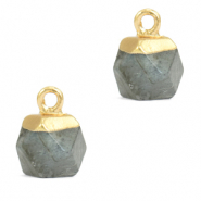 Naturstein Anhänger Hexagon Fossil grey-gold