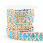 Elastisches Band Blume Pink-turquoise blue