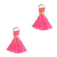 Perlen Quaste 1cm Gold-hot pink
