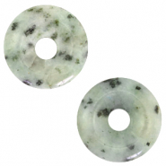 Naturstein Anhänger Disc Grayed jade green
