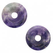 Naturstein Anhänger Disc Multicolour purple
