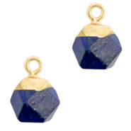 Naturstein Anhänger Hexagon Dark blue-gold