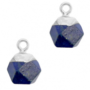 Naturstein Anhänger Hexagon Dark blue-silver