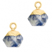 Naturstein Anhänger Hexagon Blue white-gold