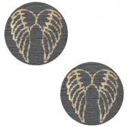 Holz Cabochon Angel Wings 12mm Dark grey